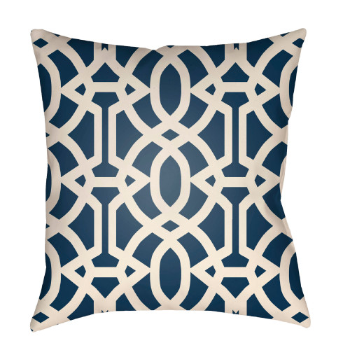 """26"""" Ivory and Aegean Blue Trellis Patterned Square Throw Pillow Cover - IMAGE 1"""