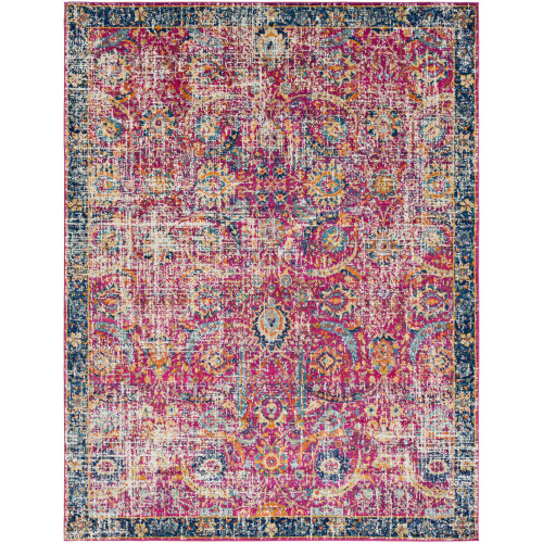 7.8' x 10.25' Distressed Finish Pink and Blue Rectangular Area Throw Rug - IMAGE 1
