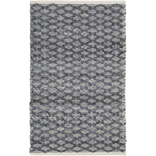 2' x 3' Textured Gray and White Rectangular Area Throw Rug - IMAGE 1