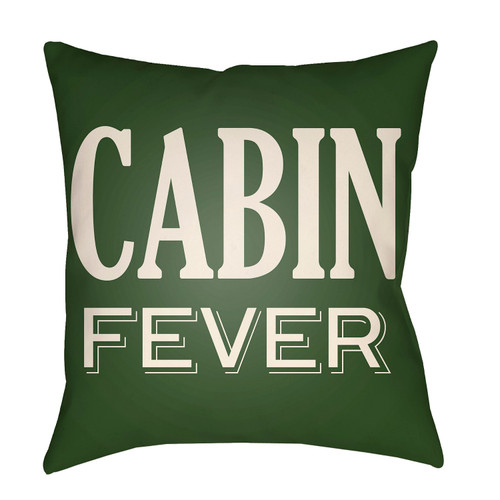 """18"""" Green and Beige with Printed """"Cabin Fever"""" Throw Pillow Cover - IMAGE 1"""