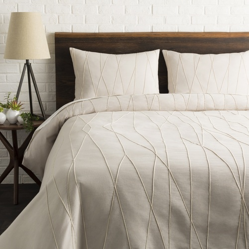 """108"""" Gray and Cream Appliqued Lines Pattern King Duvet Set with Two King Shams - IMAGE 1"""