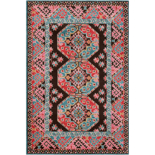 8.9' x 12' Traditional Style Pink and Aqua Blue Rectangular Area Throw Rug - IMAGE 1