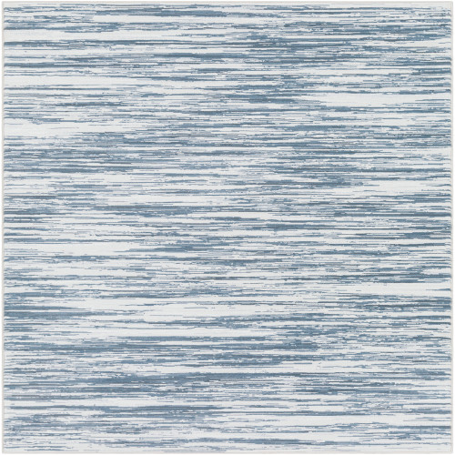 2' x 3' Gray and Blue Transitional Striped Rectangular Area Throw Rug - IMAGE 1