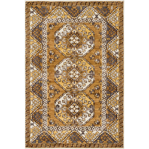 8.9' x 12' Traditional Style Brown and Yellow Rectangular Area Throw Rug - IMAGE 1