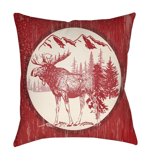 """18"""" Red and Beige with a Digital Printed Deer Throw Pillow Cover - IMAGE 1"""