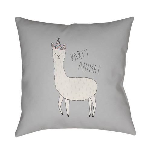 "18"" Gray Llama Printed Design Throw Pillow Cover with Knife Edge - IMAGE 1"
