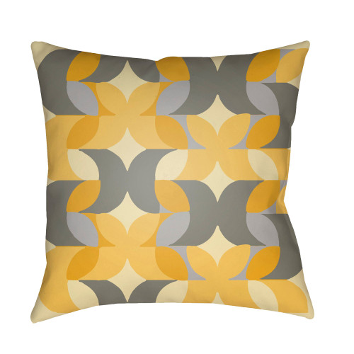 "22"" Yellow and Gray Geometric Square Throw Pillow Cover - IMAGE 1"