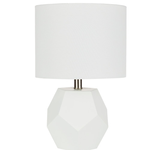 """17"""" White Body and Linen Shade Heptagon Design Base Table Lamp - IMAGE 1"""