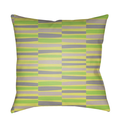 "20"" Yellow and Green Striped Square Throw Pillow Cover - IMAGE 1"