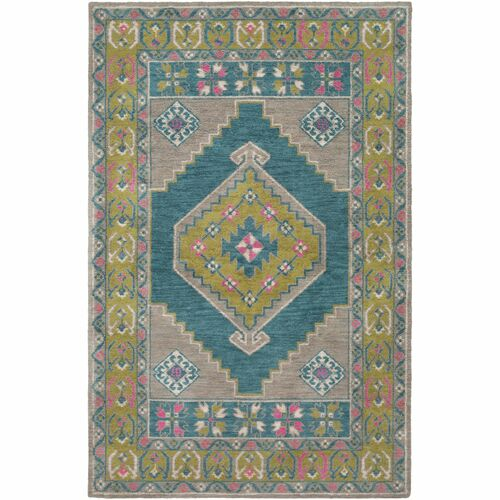 8.9' x 12' Traditional Style Gray and Green Rectangular Area Throw Rug - IMAGE 1