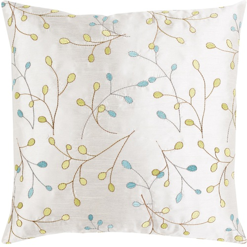 """22"""" White with Embroidered Leaves Woven Square Throw Pillow - Down - IMAGE 1"""