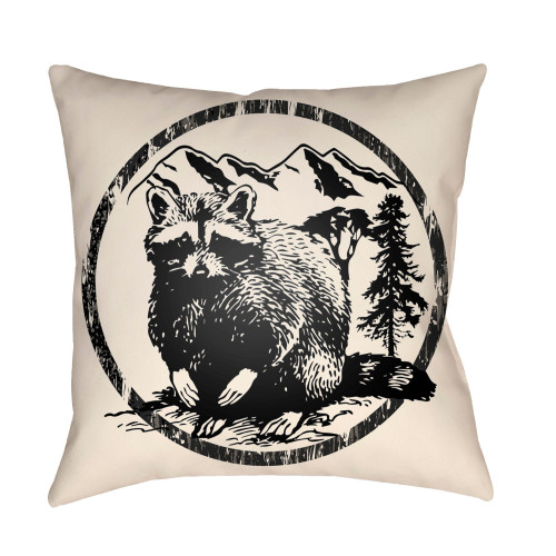 "20"" Black and Beige Raccoon Printed Square Throw Pillow Cover - IMAGE 1"