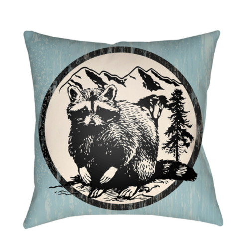"""18"""" Sky Blue and Black Printed Raccoon Design Throw Pillow Cover with Knife Edge - IMAGE 1"""