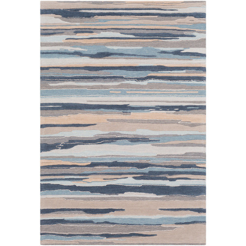 2' x 3' Navy Blue and Gray Camouflage Pattern Rectangular Hand Tufted Area Rug - IMAGE 1
