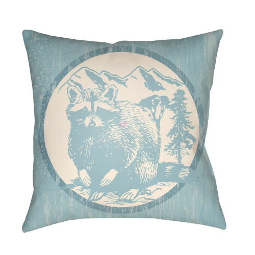 "20"" Beige and Sky Blue Raccoon Printed Square Throw Pillow Cover - IMAGE 1"