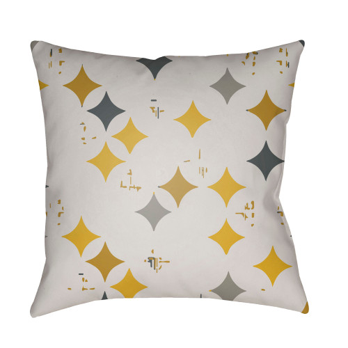 """22"""" Yellow and Gray Digitally Printed Square Throw Pillow Cover - IMAGE 1"""
