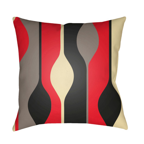 """22"""" Red and Black Digitally Printed Square Throw Pillow Cover - IMAGE 1"""