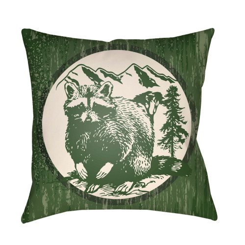 """20"""" Beige and Green Raccoon Printed Square Throw Pillow Cover - IMAGE 1"""