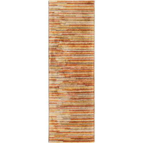 2.5' x 8' Abstract Style Orange and Yellow Rectangular Area Throw Rug Runner - IMAGE 1