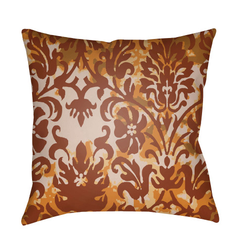 """22"""" Caramel Brown and Orange Damask Patterned Square Throw Pillow Cover - IMAGE 1"""