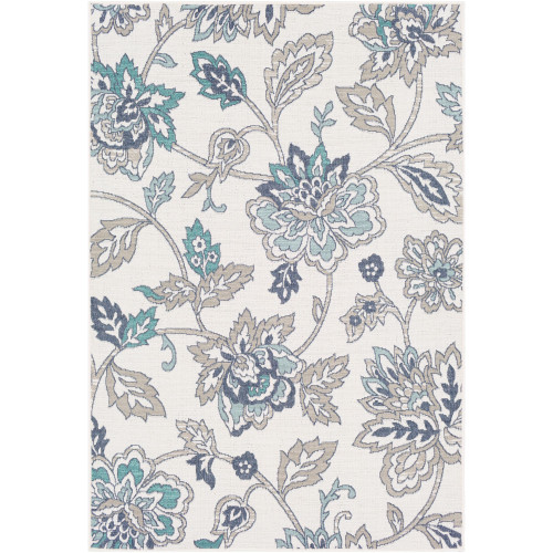 3.5' x 5.5' Floral Ivory and Green Rectangular Area Throw Rug - IMAGE 1