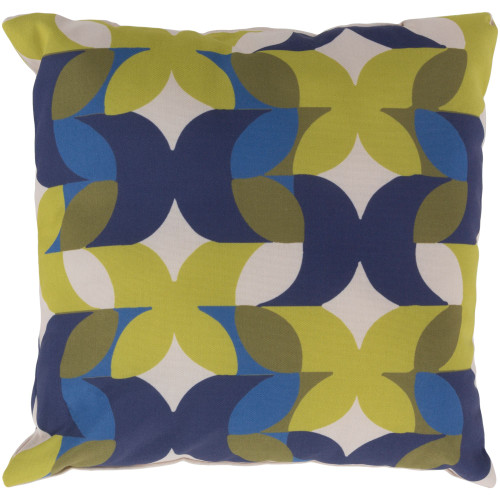 "22"" Bright Yellow and Blue Geometric Square Throw Pillow Cover - IMAGE 1"