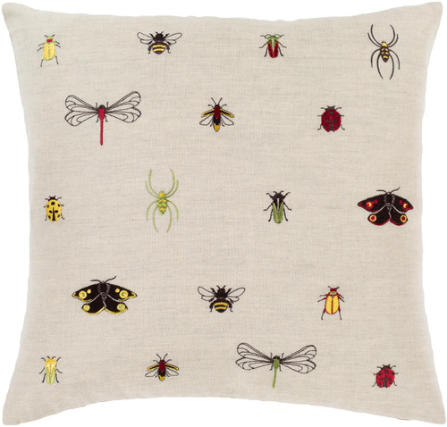 """20"""" Beige and Red Insects Embroidered Throw Pillow Cover - IMAGE 1"""