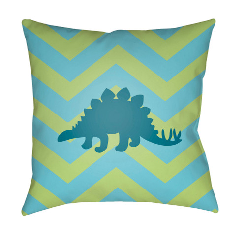 """20"""" Green and Blue Dinosaur Silhouette Square Throw Pillow Cover with Knife Edge - IMAGE 1"""