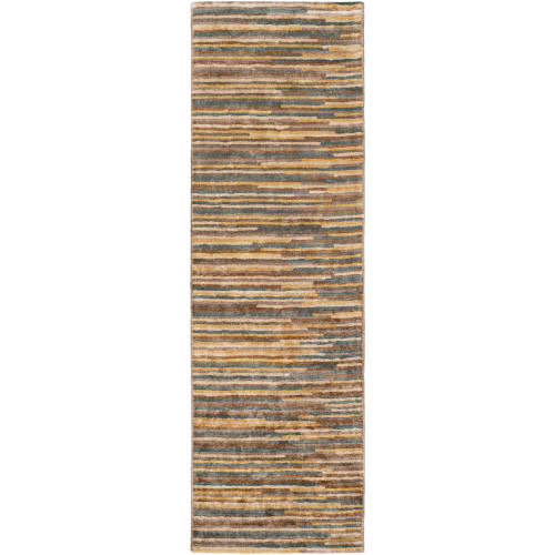2.5' x 8' Abstract Style Yellow and Brown Rectangular Area Throw Rug Runner - IMAGE 1