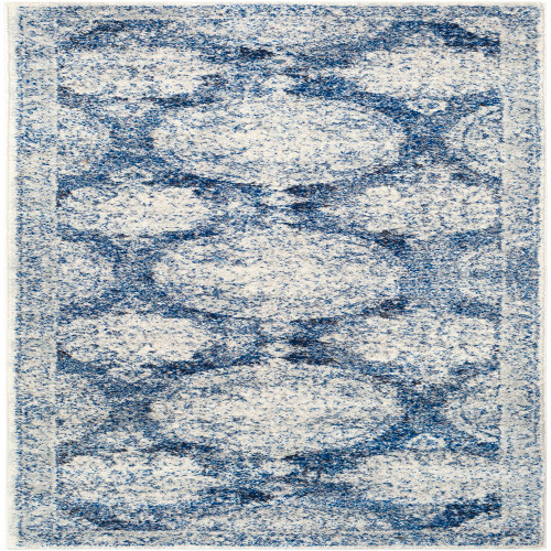 2.5' x 7.25' White and Navy Blue Distressed Finish Rectangular Area Throw Rug Runner - IMAGE 1
