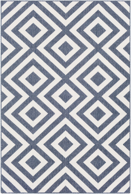 5.9' x 8.8' Charcoal Blue and White La Fiorentina Pattern Rectangular Area Throw Rug - IMAGE 1