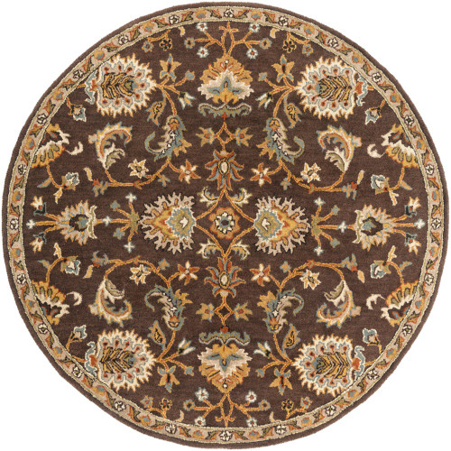 """3'6"""" Floral Persian Design Dark Brown and Ivory Round Hand Tufted Wool Area Rug - IMAGE 1"""