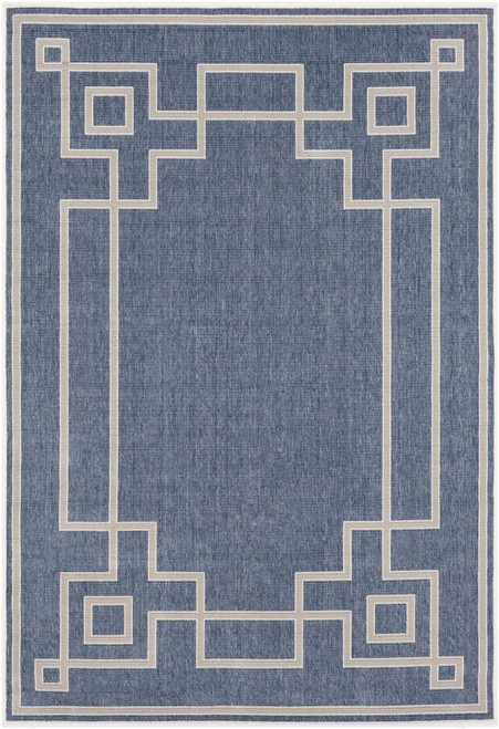 5.9' x 8.8' Charcoal Blue and Taupe Brown Moroccan Style Rectangular Area Throw Rug - IMAGE 1