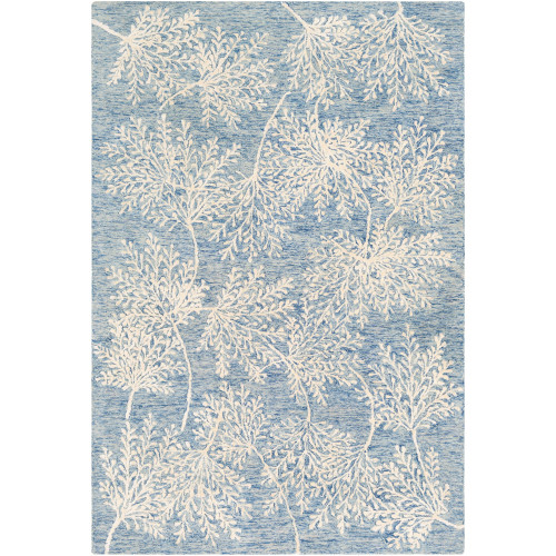 6' x 9' Leaf Design Blue and Beige Rectangular Hand Tufted Wool Area Throw Rug - IMAGE 1