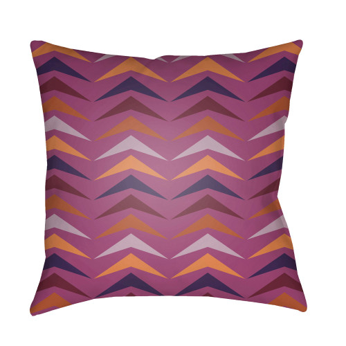 "22"" Orange and Purple Throw Pillow Cover with Knife Edge - IMAGE 1"