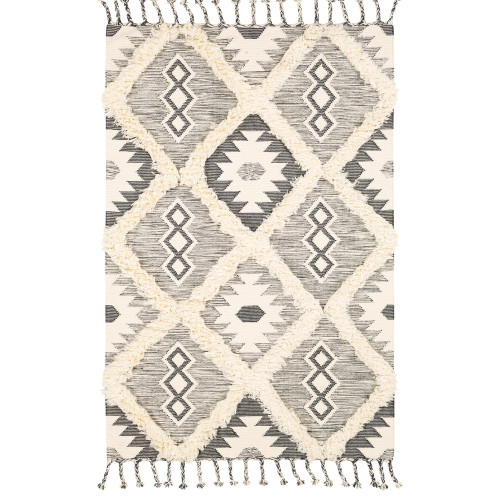 2' x 3' Dark Gray and Beige Diamond Design Rectangular Hand Woven Area Rug with Fringe Edge - IMAGE 1