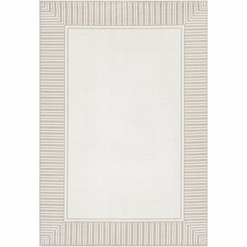 3.5' x 5.5' Solid Ivory and White Rectangular Area Throw Rug - IMAGE 1