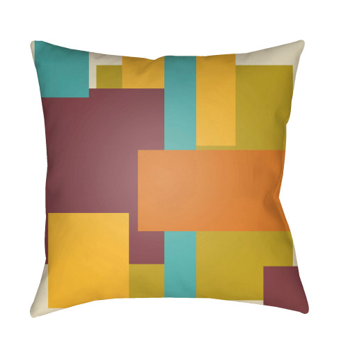 """22"""" Yellow and Orange Abstract Patterned Square Throw Pillow Cover with Knife Edge - IMAGE 1"""