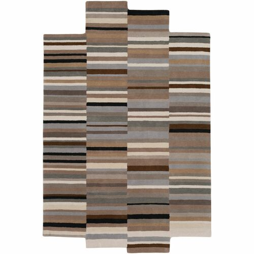 8' x 10' Contemporary Style Brown and Beige Area Throw Rug - IMAGE 1