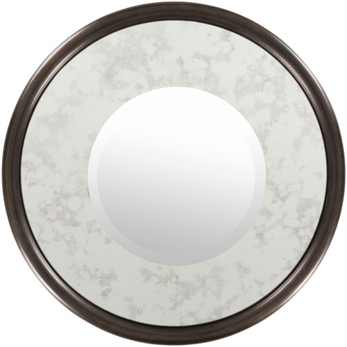 """25.5"""" Antique Style Silver Colored Framed Beveled Circular Wall Mirror - IMAGE 1"""