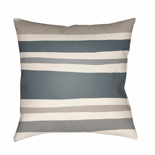 """20"""" Gray and Beige Striped Square Throw Pillow Cover - IMAGE 1"""