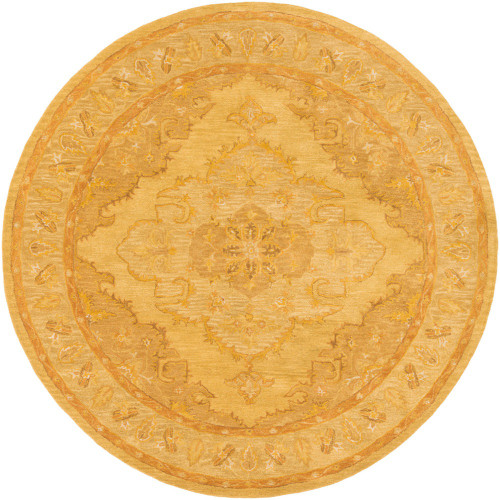 """3'6"""" Persian Design Yellow Round Hand Tufted Wool Area Rug - IMAGE 1"""