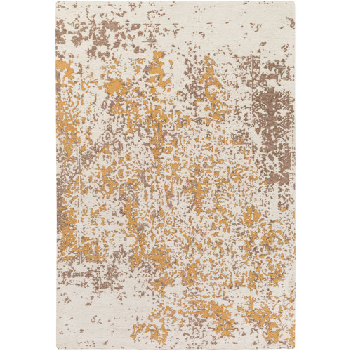 9' x 13' Distressed Abstract Design Beige and Brown Rectangular Area Throw Rug - IMAGE 1