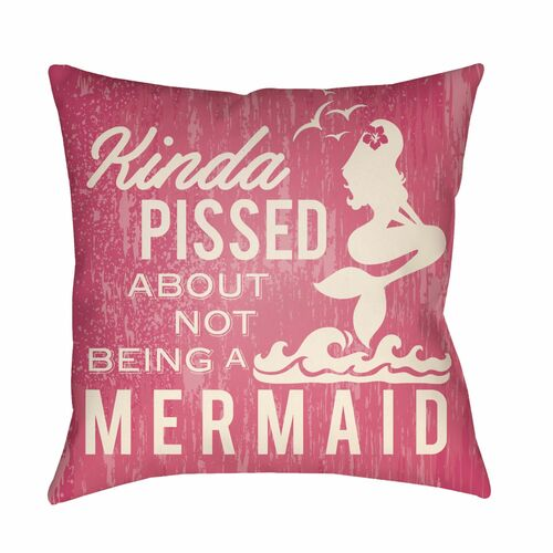 "20"" Pink and Ivory Mermaid Typography Printed Square Throw Pillow Cover - IMAGE 1"