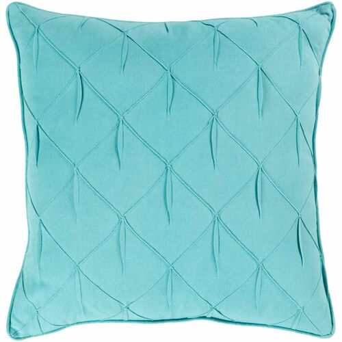"""22"""" Teal Textured Lattice Pattern with Fabric Manipulation Design Square Throw Pillow Cover - IMAGE 1"""