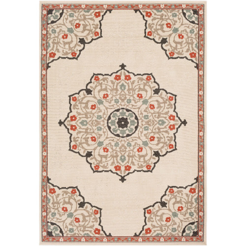3.5' x 5.5' Floral Beige and Black Rectangular Area Throw Rug - IMAGE 1