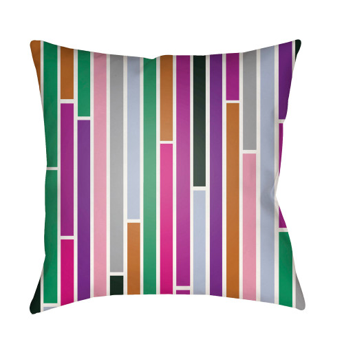 """22"""" Violet and Green Digitally Printed Square Throw Pillow Cover - IMAGE 1"""