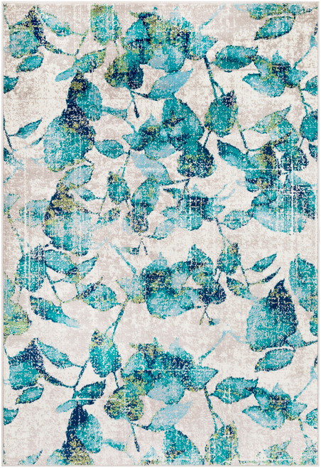 2' x 3' Aqua Blue and Teal Green Leaves Designed Shed-Free Area Throw Rug - IMAGE 1