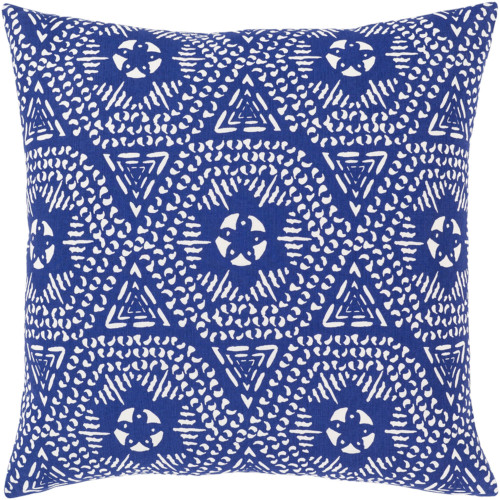 "18"" Blue and White Square Throw Pillow with Knife Edge - Poly Filled - IMAGE 1"