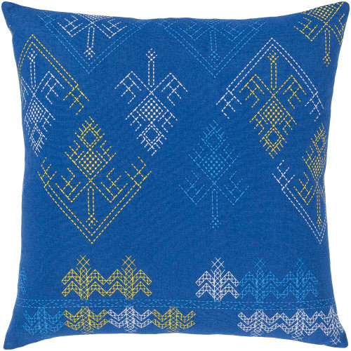 """18"""" Blue and Yellow Square Throw Pillow with Knife Edge - Poly Filled - IMAGE 1"""